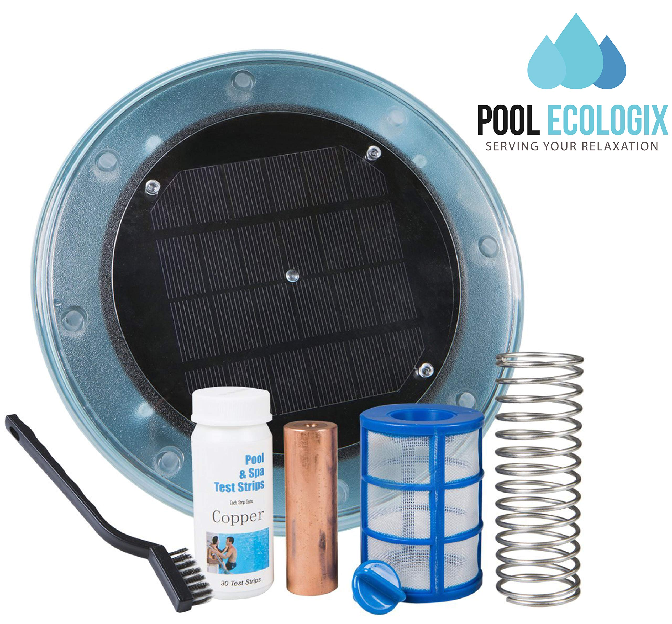 Pool Ecologix Solar Pool Ionizer | Floating Cleaner and Purifier with Copper Anode | Keeps Water Crystal Clear and Free of Algae | Chlorine Free and Eco-Friendly | Fresh and Salt Water Compatible by Pool Ecologix