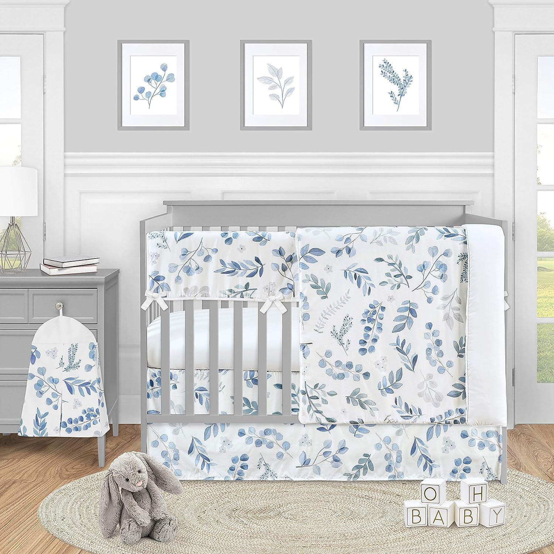 Sweet Jojo Designs Floral Leaf Baby Boy or Girl Nursery Crib Bedding Set - 5 Pieces - Blue Grey and White Boho Watercolor Botanical Flower Woodland Tropical Garden