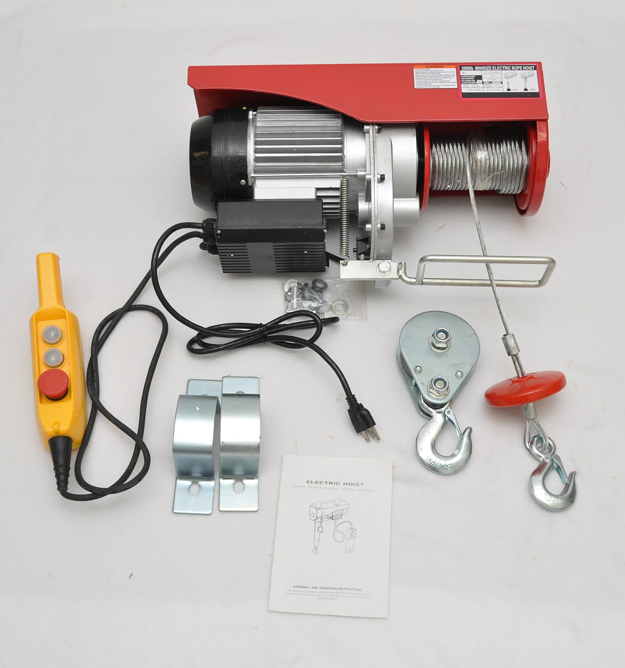 Electric Overhead 110v Overhead Hoist, 2000 Lb Capacity, Garage, Shop,  Industrial Useage, Comes with Mounting Brackets