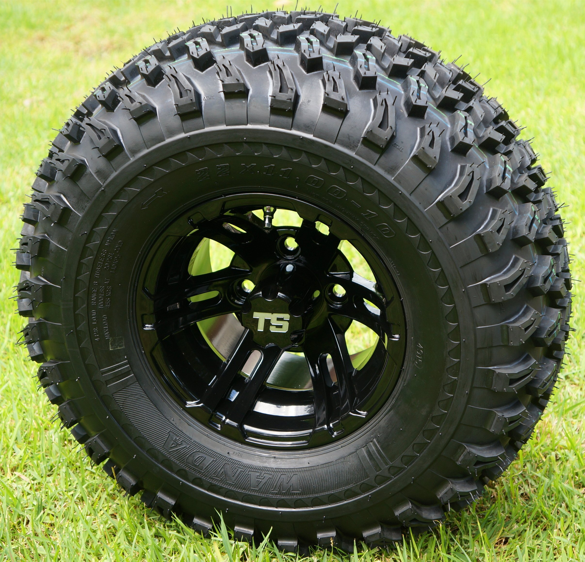 10'' BULLDOG Black Wheels and 22x11-10 All Terrain Golf Cart Tires - Set of 4