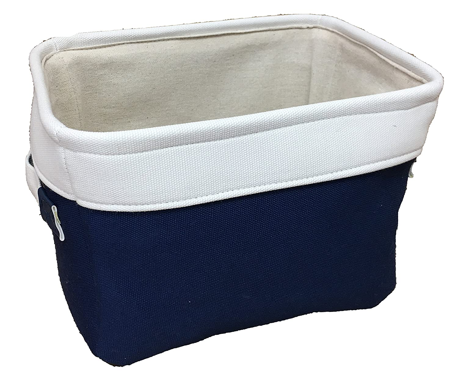 Canvas storage baskets in assorted sizes and colors. Small shelf storage. Makeup organiser or toy basket. knitting or wool bin (Navy Blue, Small) The pescara Collection