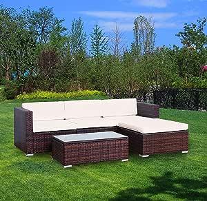 YOUKE 5 Piezas de jardín al Aire Libre Muebles de jardín Tumbona sofá Taburete de Mimbre, jardín de Invierno: Amazon.es: Jardín