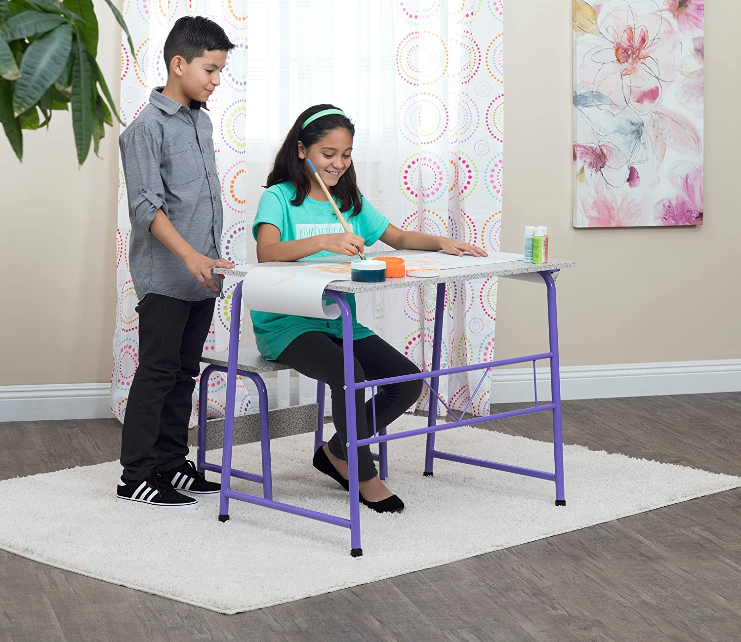 Project Center, Kids Craft Table with Bench In Purple/Spatter Gray 55127 Studio Designs 55127.0