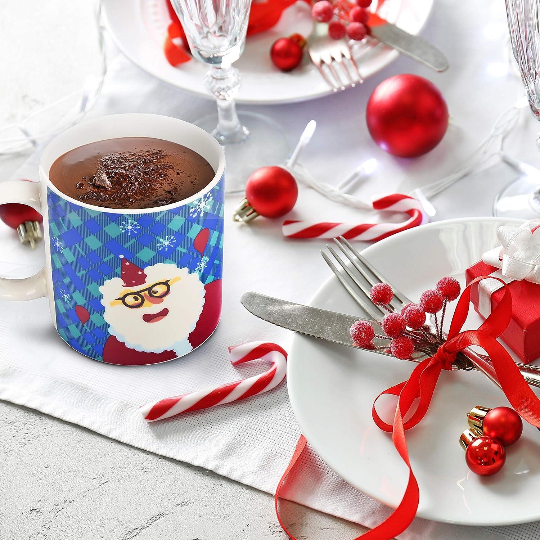 Tasses /à Caf/é Porcelaine Bone China 4 Pi/èces Coffret Cadeau de Mug de No/ël Au Micro-Ondes| Cadeau pour la Famille et les Amis. Passe au Lave-Vaisselle 340ml| Th/ème Festif Mug /à Caf/é