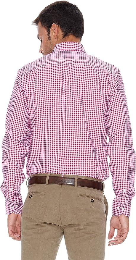 Pedro del Hierro Camisa Non Iron Vichy Rojo L: Amazon.es: Ropa y accesorios
