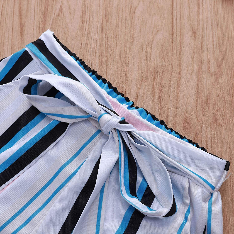 Womens Plus Size High Waist Summer Casual Vertical Striped Wide-Leg Shorts Hot Pants