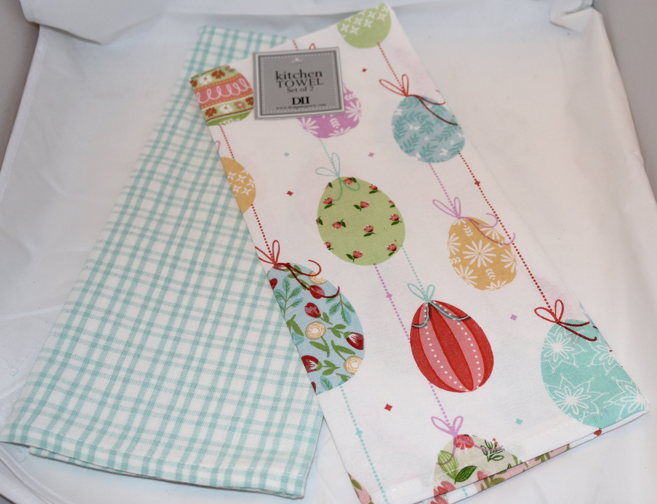 DII Design Imports French Country Cottage Easter Egg Ornaments and Plaid Printed Dishtowels Set of 2