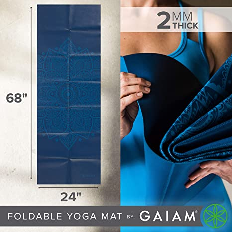 gaiam - Esterilla Plegable para Yoga, 2 mm, Azul: Amazon.es ...