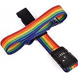 クロース(Kroeus)スーツケースベルト TSAロック 3桁ダイヤル式 十字型 ロック搭載ベルト ワンタッチベルト 旅行 出張 ハネムーン 調整可能 ネームタグ 盗難防止 4色