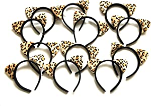 Headband Shiny Hair Hoops Cute Bling Hairband Fluffy Hair Accessories for Women Girls Daily Wearing and Party Favor Decoration (Cheetah Ear)