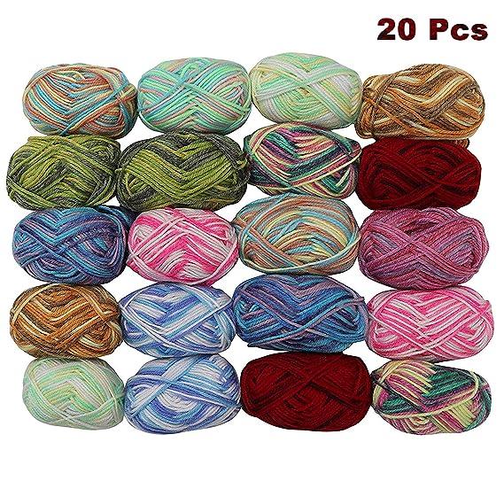 Laine à Tricoter (20x25g) - Laine a Crochet (75m) Laines Multicolores - Assortie Laine à Acrylique - Fil Crochet Pour Tricot, Pulls, Cardigans, Couvertures - Pelotes de Laine - Fil à Tricoter