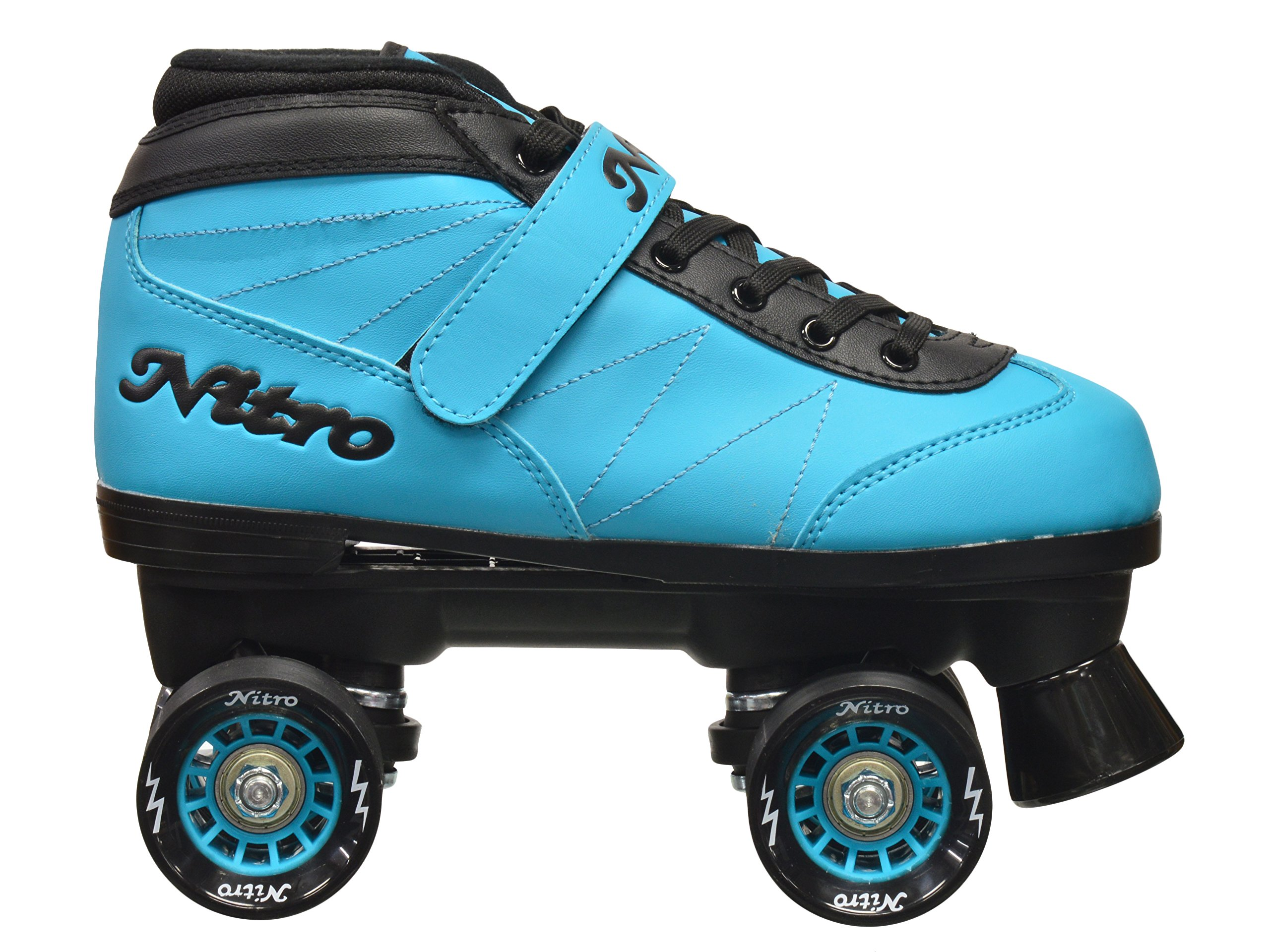 New! Epic Nitro Turbo Blue Indoor / Outdoor Quad Roller Speed Skates w/ 2 Pair of Laces (Blue & Black) (Mens 9) by Epic Skates (Image #4)