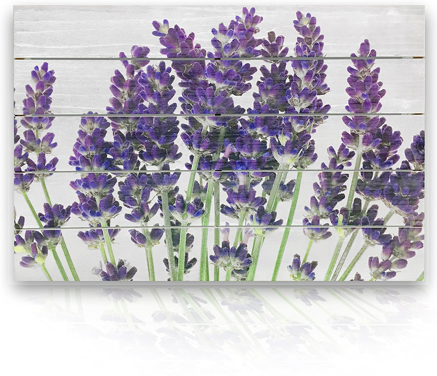 """  Natural Wood Wall Decor 16"""" x 24""""   Rustic Purple Lavender Flowers on White Fir   Shiplap Style. Authentic Wood Plank 3d Wall Art. Non Canvas. Home Decor for Kitchen, Bedroom, Bathroom"""