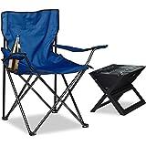 Relaxdays Campingstuhl, Armlehnen, Getränkehalter, Tragetasche, klappbar, HBT: 81 x 78 x 50 cm, verschiedene Farben