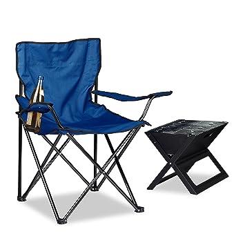 Silla de camping Relaxdays, reposabrazos, portavasos, bolsa de transporte, plegable, dimensiones: 81 x 78 x 50 cm, en diferentes colores