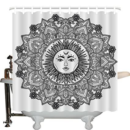 JXHLMS Mandala Decor Shower Curtain By Moroccan Style Circle Icon With Outer Inner Curving Leaves