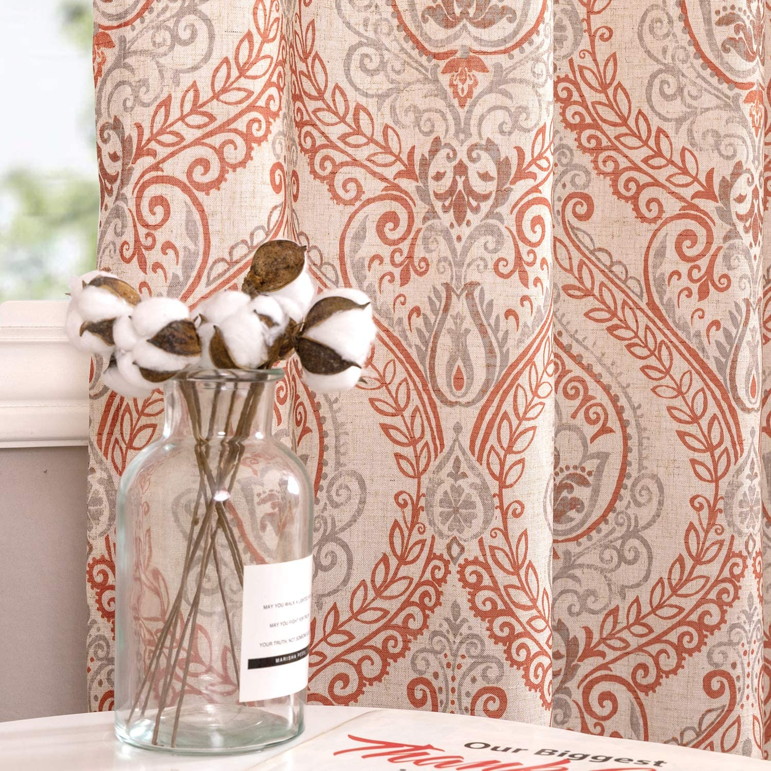 "jinchan Damask Printed Curtains for Bedroom Drapes Vintage Linen Blend Medallion Curtain Panels, Window Treatments for Living Room Patio Door (1 Pair, 54"", Terra Cotta)"