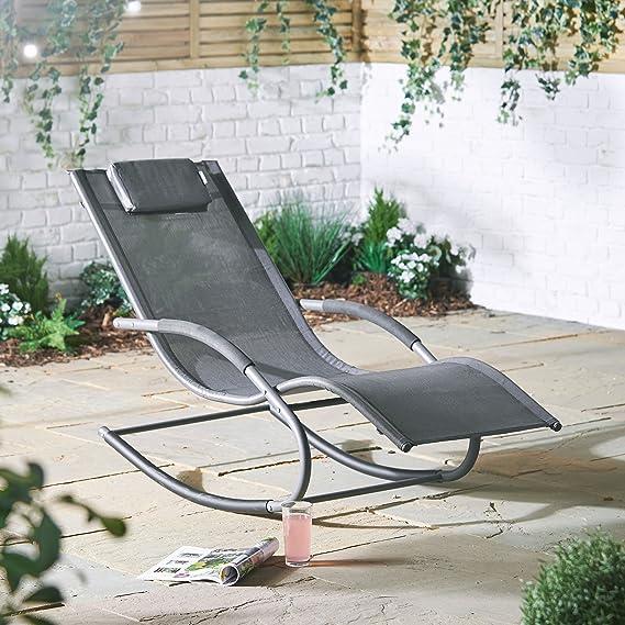 VonHaus Chaise Longue /à Bascule Textoline Patio Terrasse Chaise de Relaxation Ext/érieur pour Jardin