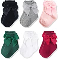 CozyWay Baby Girls Knee High Socks 3/6 Pack Bow Long Stockings Infants Toddlers Ruffled Socks School Uniform Leggings