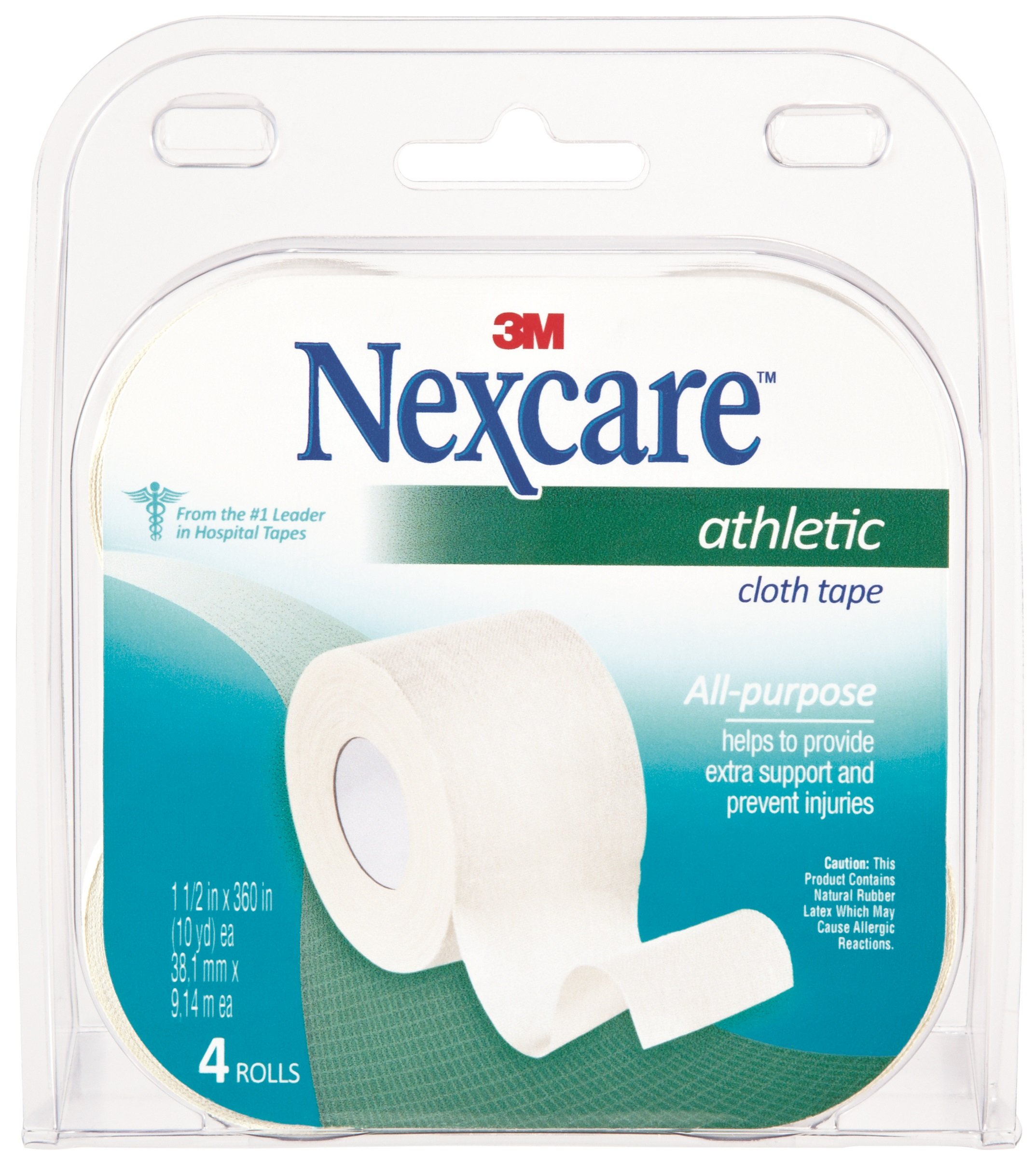 Nexcare Athletic Cloth Tape, Breathable, Water-Resistant, Useful for Sports and Exercise, Sprains, Strains, and Splints, 1-1/2-Inches X 10-Yards, 8 Rolls (2 Packs of 4 Each)