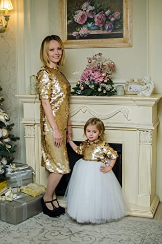 Amazon Gold Mother Daughter Matching Dresses Tutu Sequin Outfits Party Dress Birthday Mommy And Me Handmade