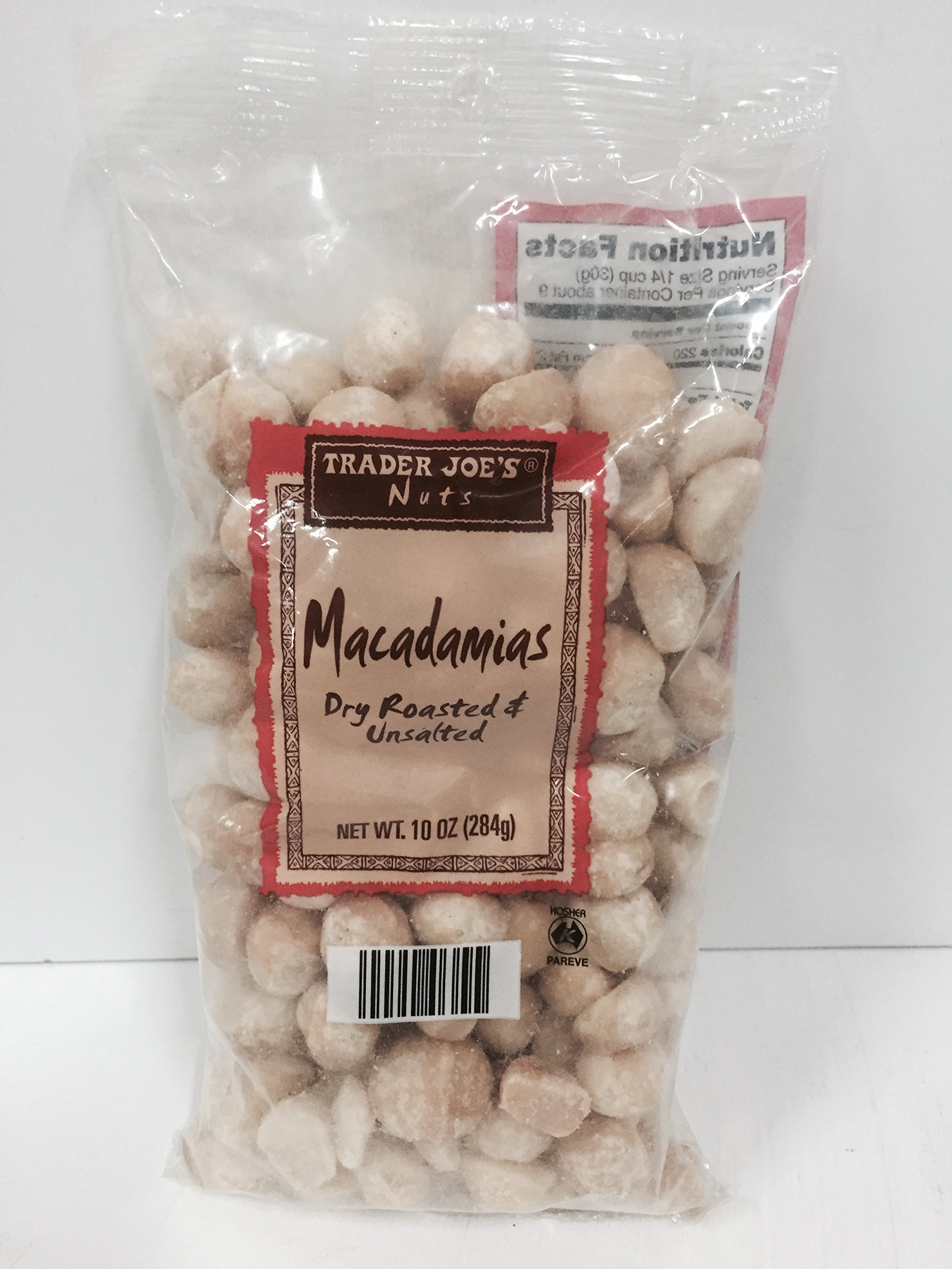 Trader Joe's Macadamias Dry Roasted & Unsalted (Pack of 2)