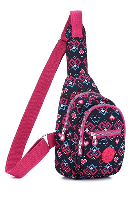 394af2b5f407 TOKLONG Sling Bag Water Resistant Fashion Shoulder Chest Pack (rose red)