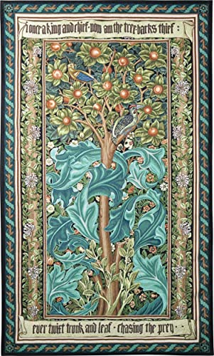 Woodpecker Green by William Morris Arts and Crafts Style Woven Tapestry Wall Art Hanging Woodpecker Bird Tree Decor 100 Cotton USA Size 68×41