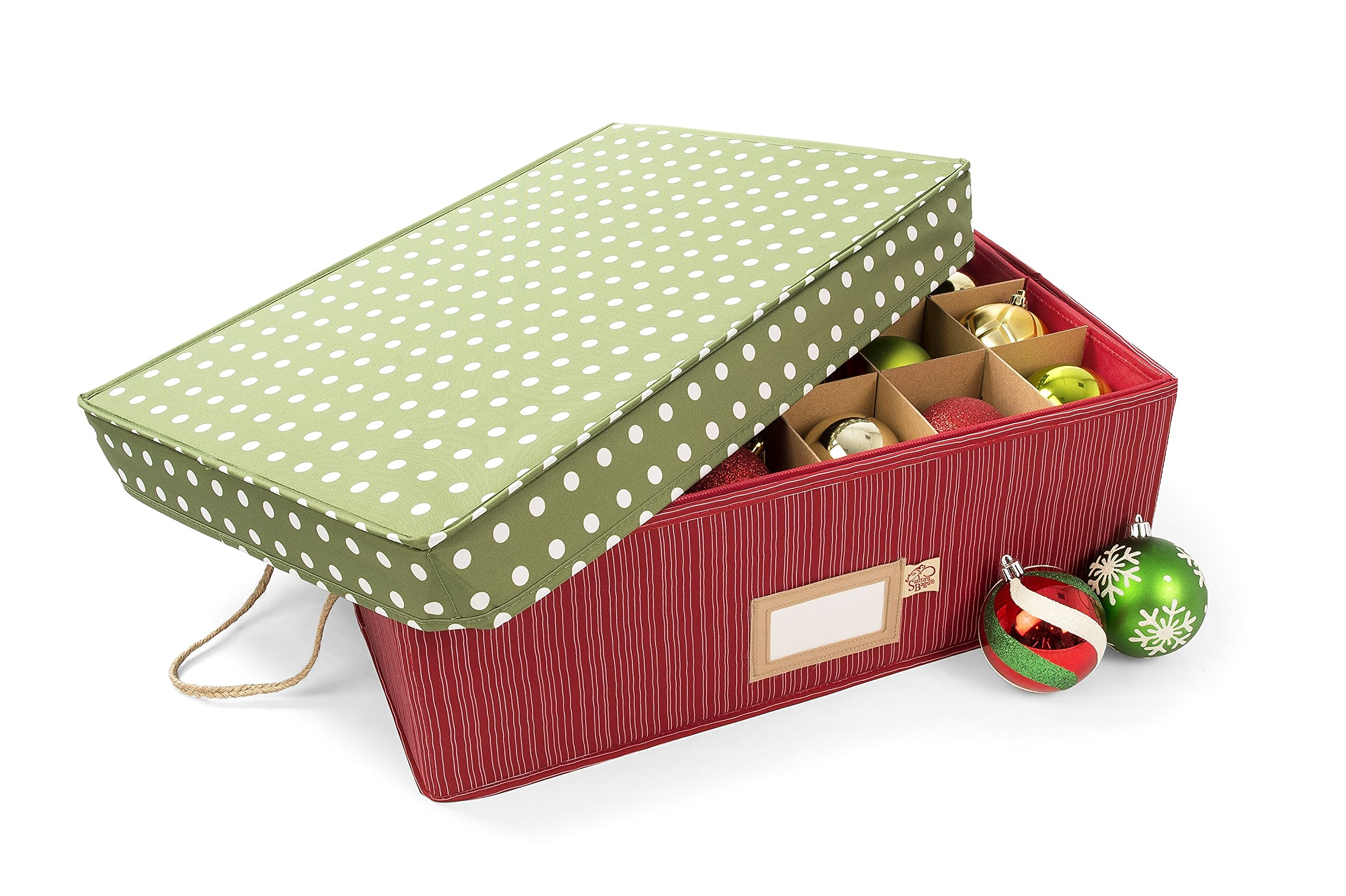 Santa's Bags Decorated Two Tray Drawer Ornament Storage Box - Polka Dot