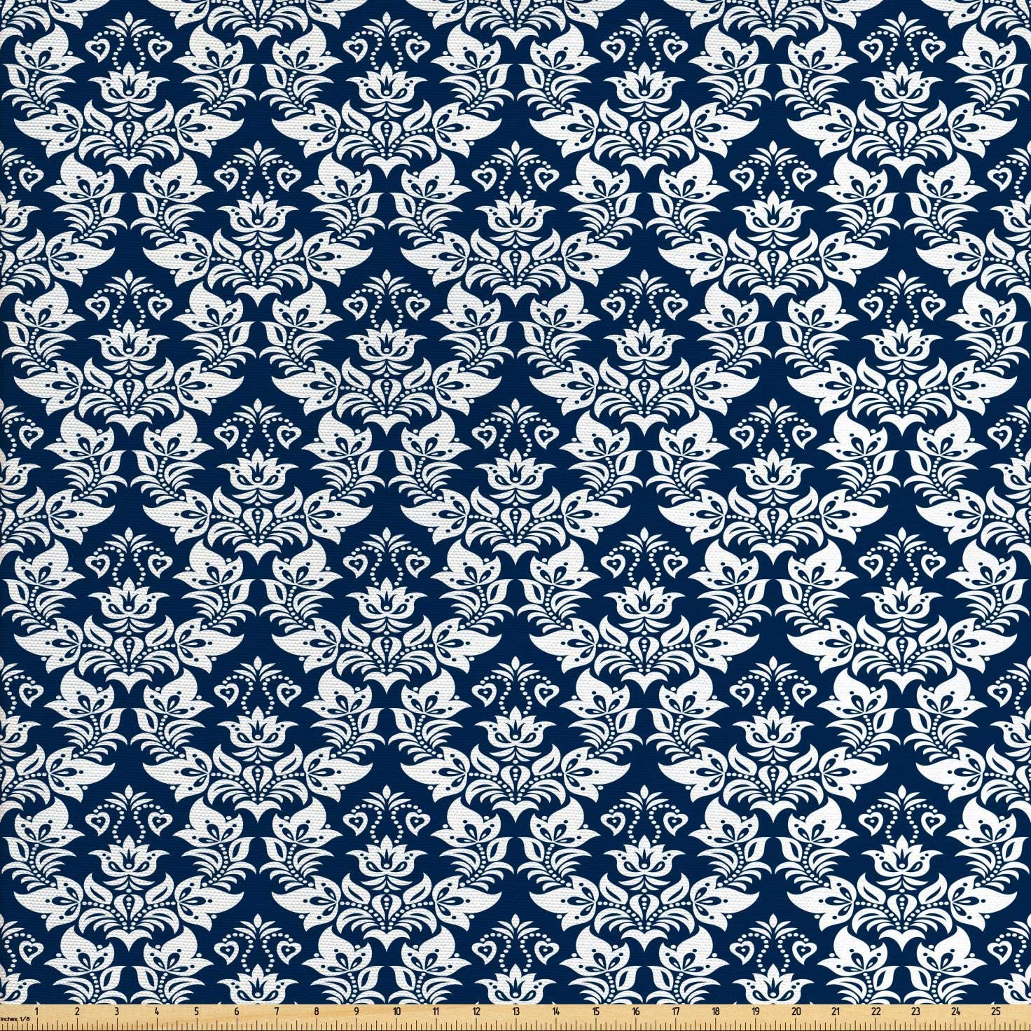 Ambesonne Damask Fabric by The Yard, Antique Floral Ornament with Baroque Curls Curves Foliage Nature Theme, Decorative Fabric for Upholstery and Home Accents, 2 Yards, Navy White