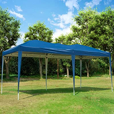 10 x 20 ft EZ Pop Up Patio Canopy Tent for Wedding, Heavy Duty Gazebo Pavilion Outdoor Party Commercial Instant Portable Tents Impact Canopies with Carry Bag, Blue : Garden & Outdoor