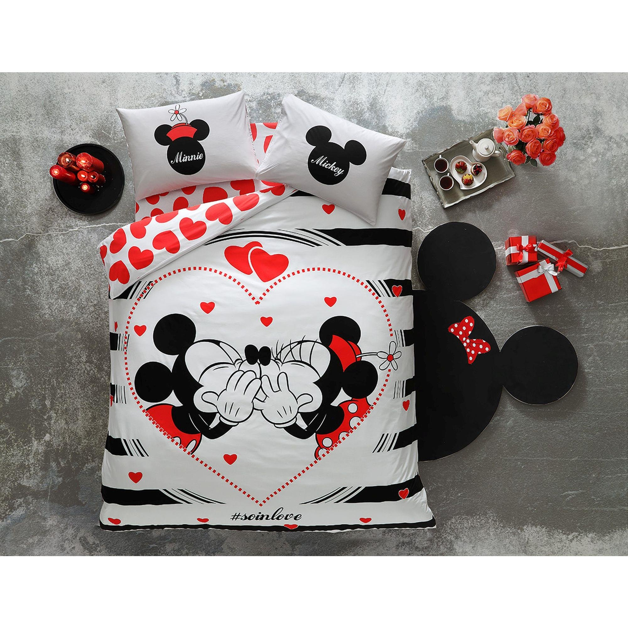 Disney Minnie & Mickey Valentine's Day AMOUR SO IN LOVE, Duvet Cover Set, 100% Cotton, Double/Queen Size, 4 Pieces