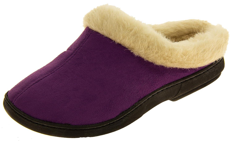 Femmes Coolers en en fourrure doublé faux daim Purple chaud Femmes pantoufles mule Purple 00580f9 - gis9ma7le.space
