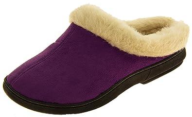 Mujer Coolers Púrpura Zapatillas Calientes de La Mula del Ante Sintético Forrado Piel EU 36-37 rlOhXmIVv6