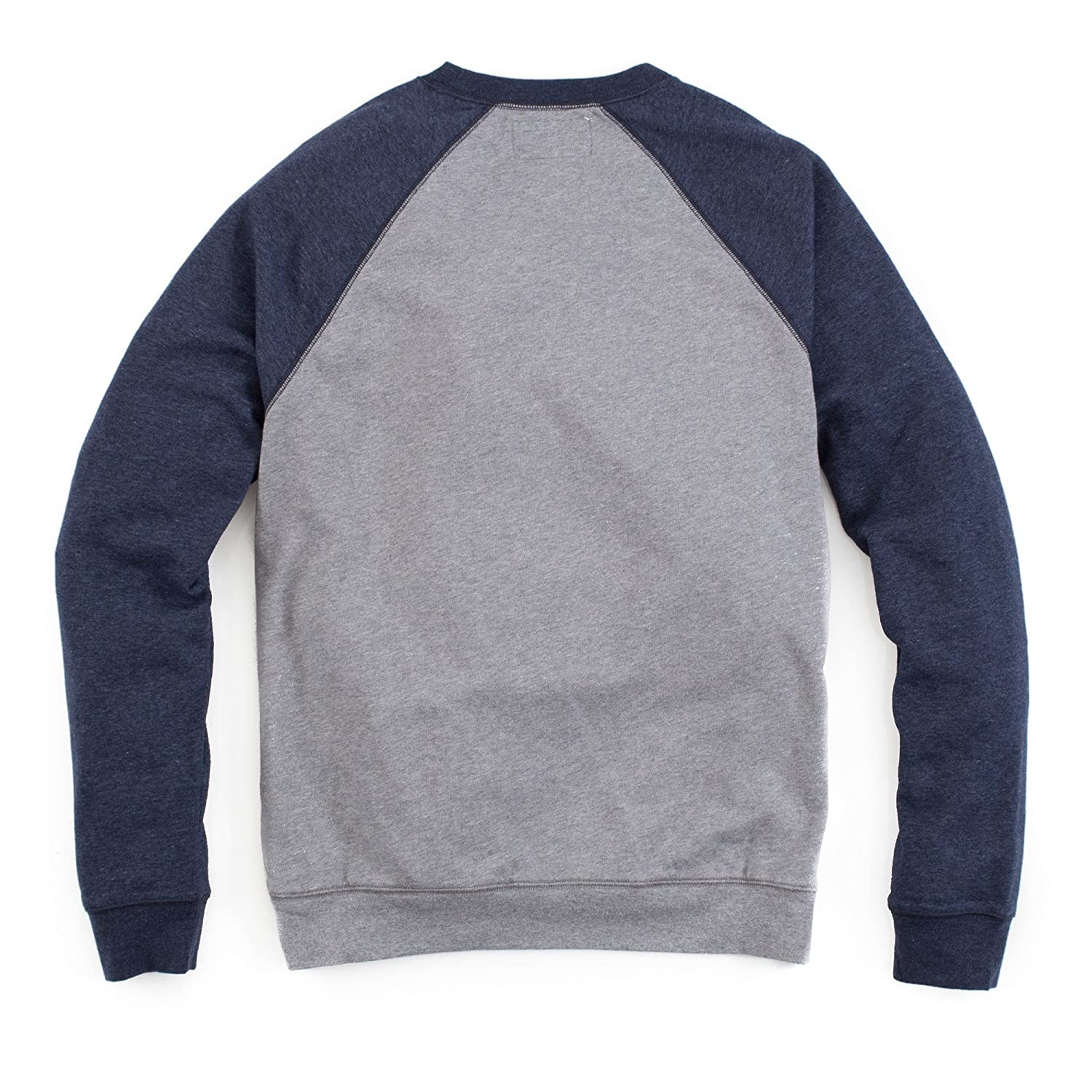 Medium Grey Dark Navy Heather 9579392-MGN Tailor Vintage Mens French Terry Crewneck Raglan Sweathshirt