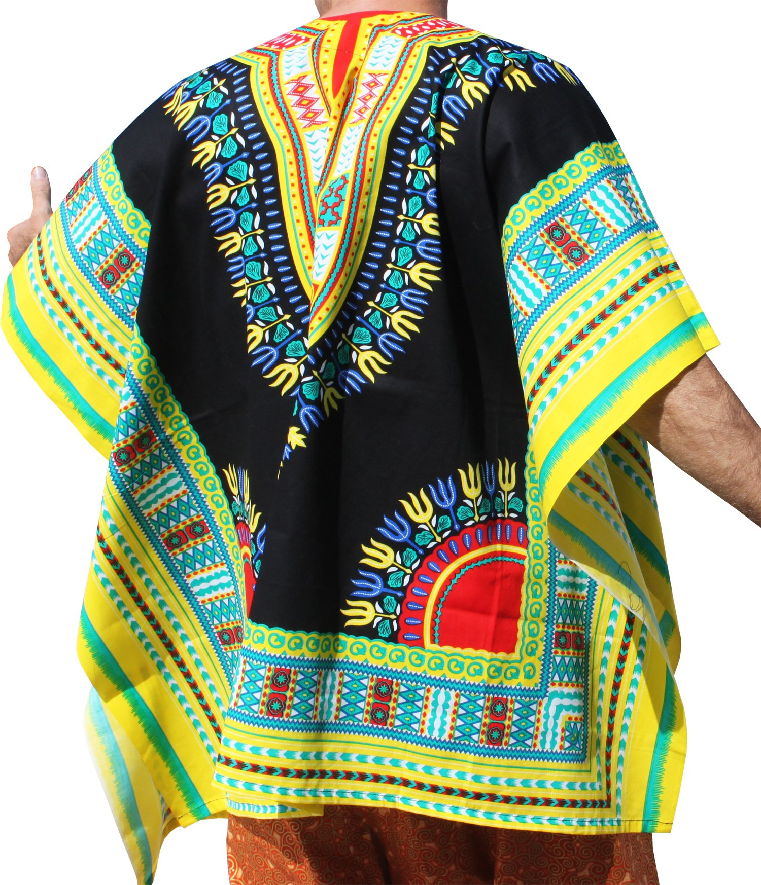 RaanPahMuang Brand Throw Over Poncho Top (Fully Open Sides) African Dashiki Art, Black With Yellow Multi by RaanPahMuang (Image #2)