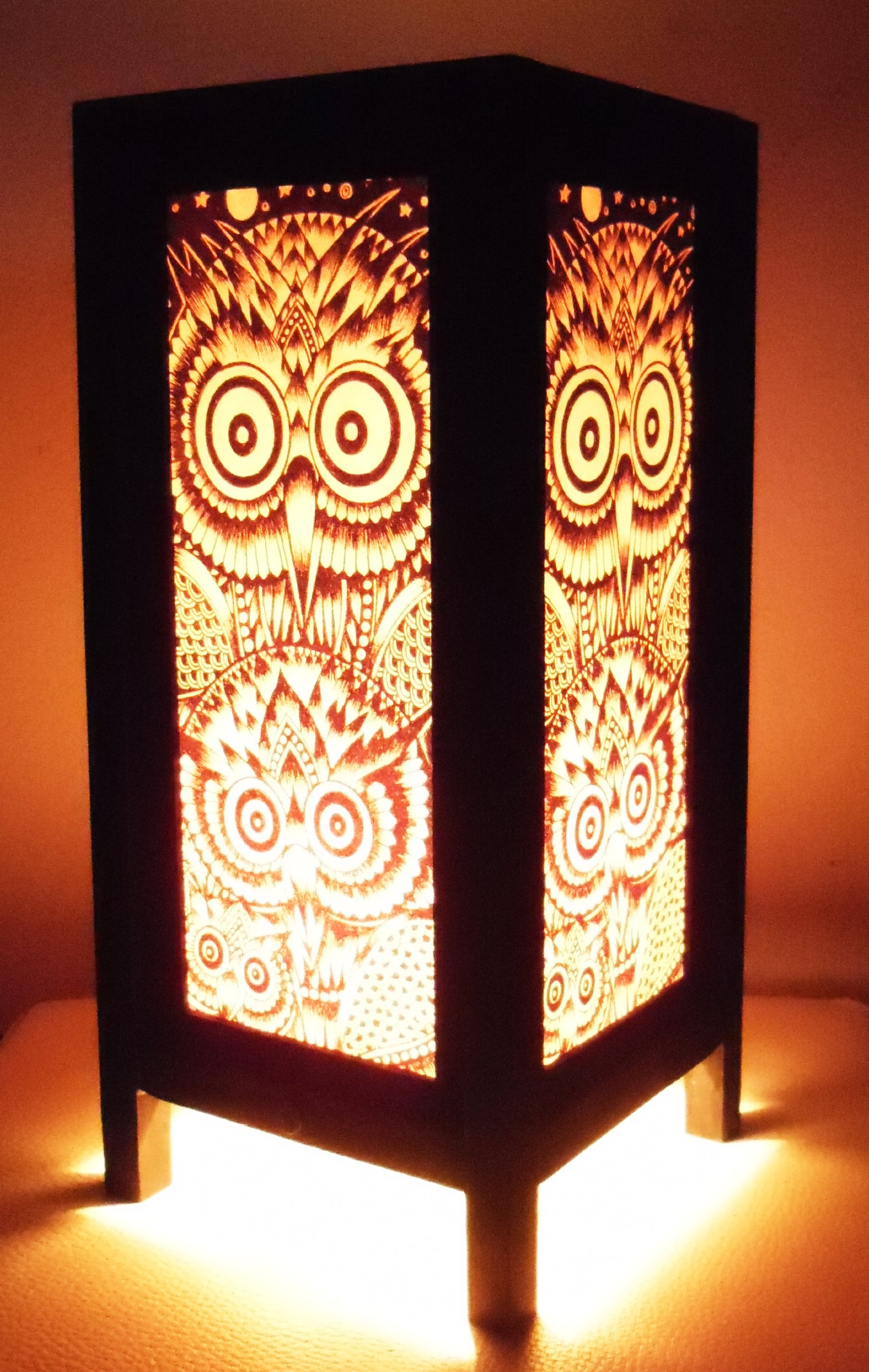 Thai Vintage Handmade Asian Oriental Night Owl Bedside Table Light or Floor Wood Paper Lamp Shades Home Bedroom Garden Decor Modern Design from Thailand by Red berry Thailand Lanna Lamp
