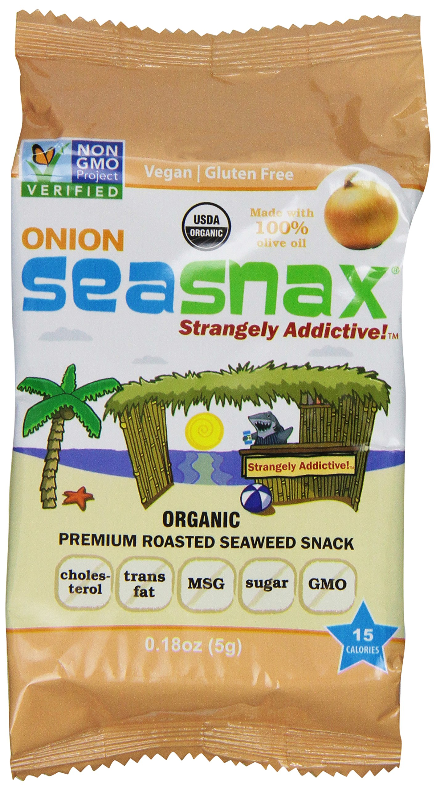 SeaSnax Grab and Go Roasted Seaweed Snack, Toasty Onion, 0.18-Ounce (Pack of 6)