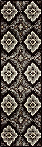Superior Designer Crawford Black Area Rug Runner 2'7″ x 8'