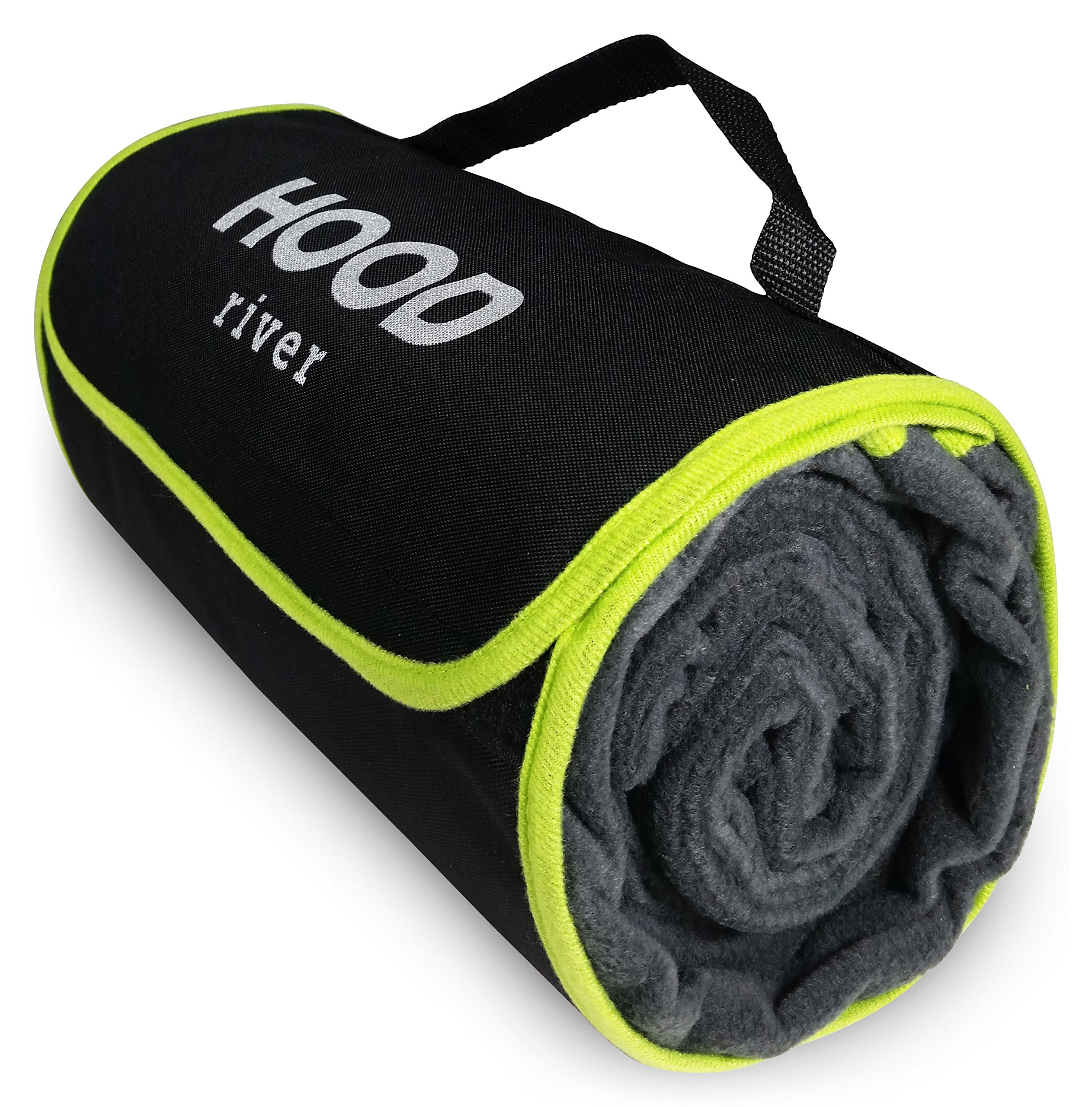 Hood River Fleece Stadium Blanket Outdoor Waterproof Windproof Soft Warm Poly Fleece Picnic Blanket XL Large 59'' x 79'' Self-Folding w/Handle For Tailgating Outdoor Sports Camping and Concerts