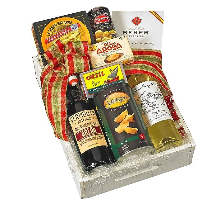 Lote Cesta Gourmet de Navidad con 2 BONOS HOTEL 2 PERSONAS. 1 Bot. Vermouth