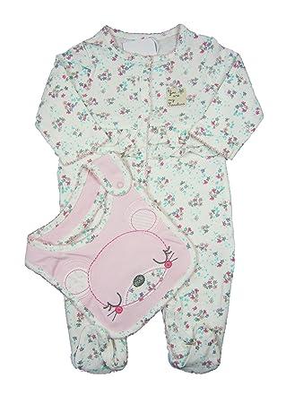 Baby Girl Floral Sleepsuit And Bib Set 9 12 Months Amazon Co Uk Baby