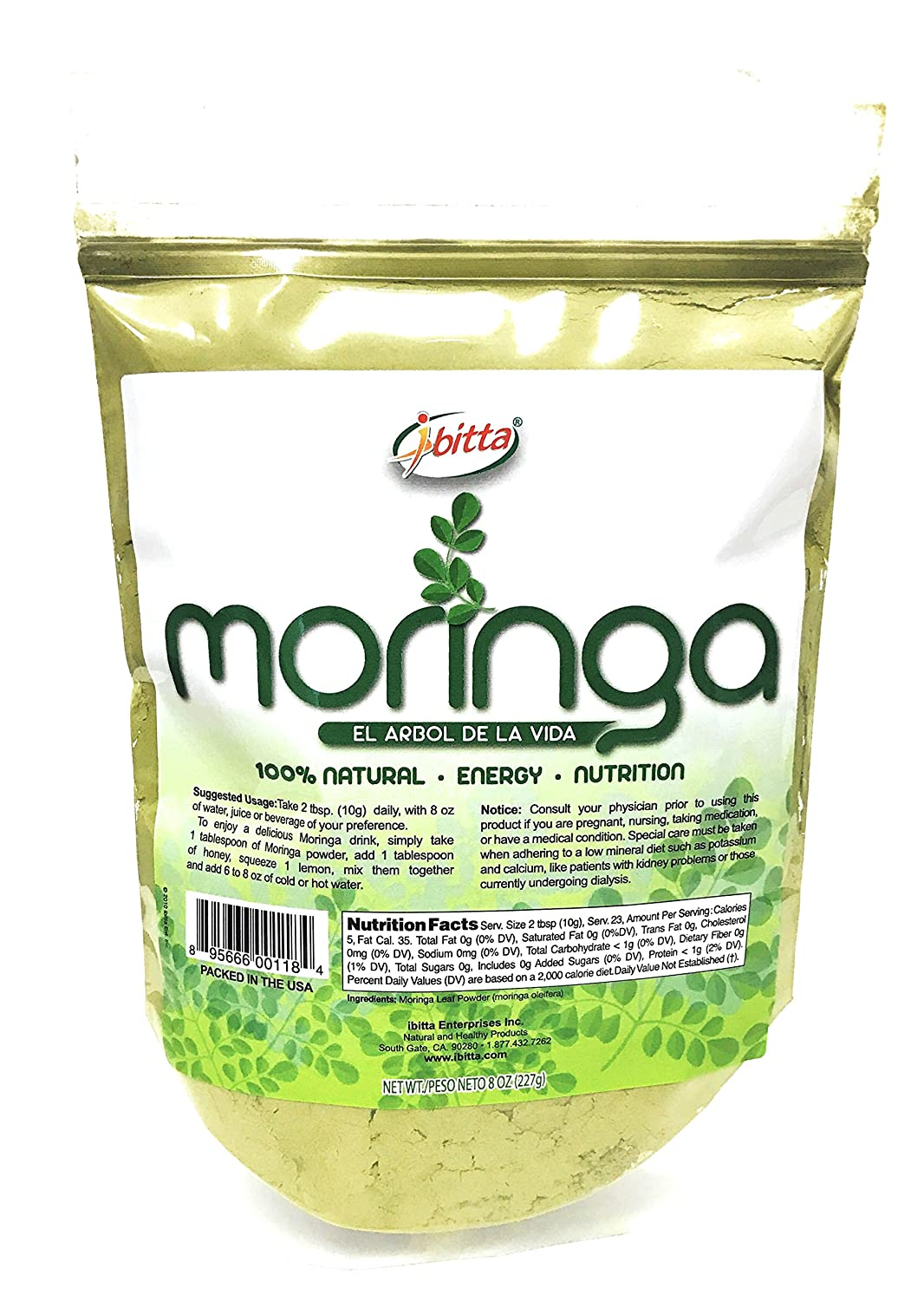 Amazon.com: Ibitta® Moringa Green Leaf Powder 100% Natural Pure Raw Moringa Oleifera Non-GMO for Nutrition & Energy Boost 8 oz: Health & Personal Care
