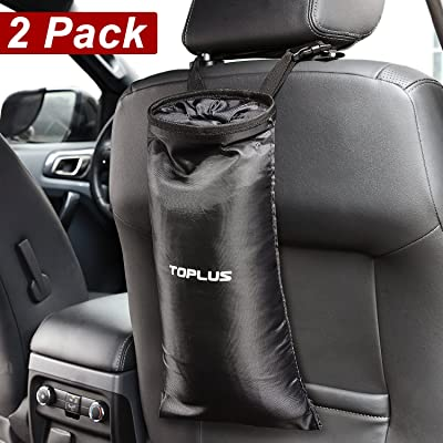 Toplus 2 PACK Car Trash Bags, Space Saving Car Garbage Can Container Washable Leakproof Eco-friendly Seatback Truck Hanging bags for Travelling, Outdoor, Home and Vehicle Use: Automotive