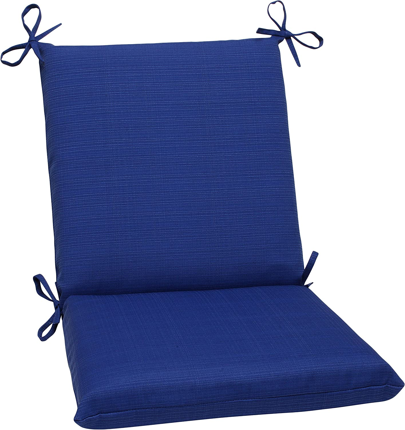 Pillow Perfect Outdoor/Indoor Squared Chair Cushion, 36.5 in. x 18 in, Fresco Blue