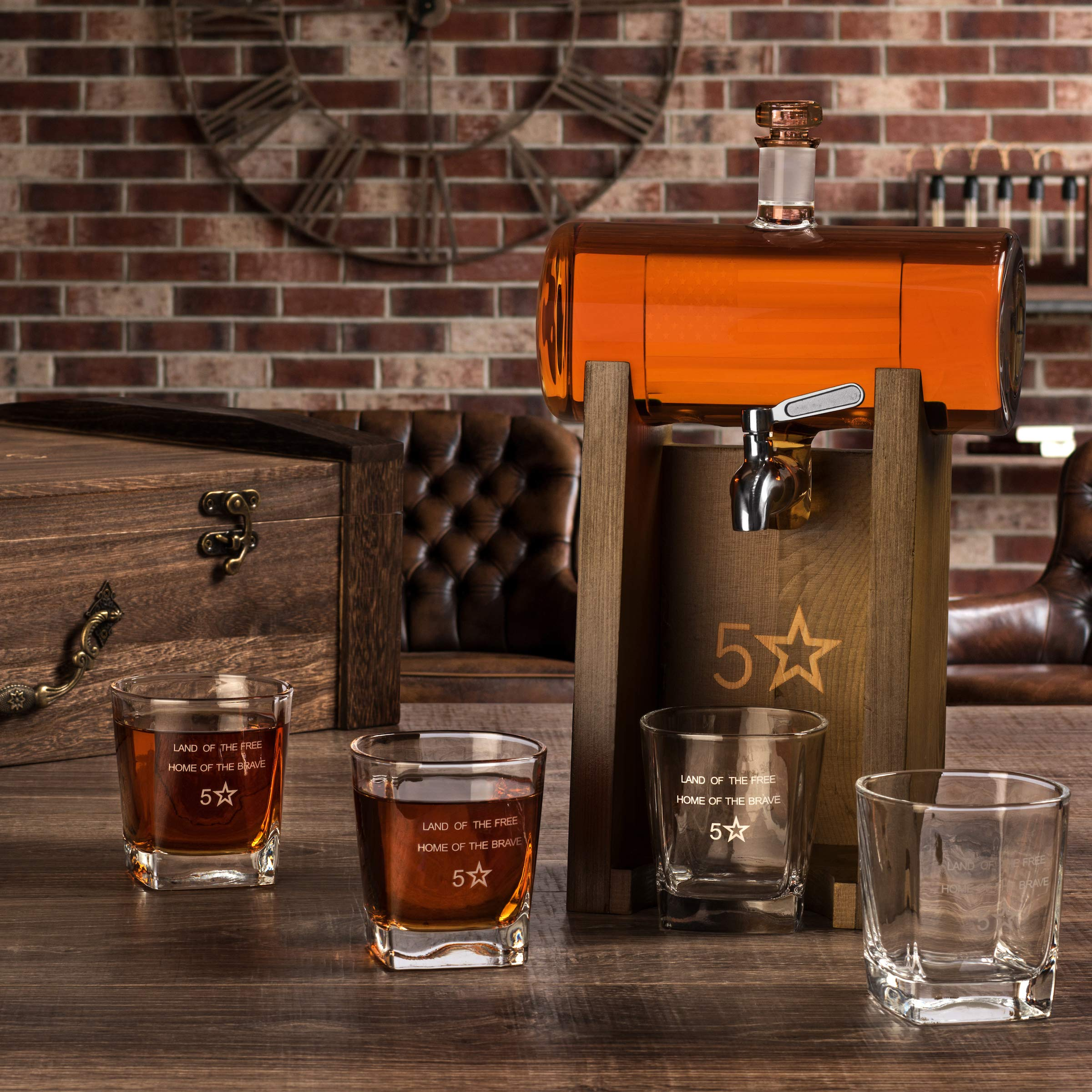 5 Star Decanters, 850mL Scotch Whiskey American Flag Decanter Set - Includes Liquor Dispenser, 4 Etched Whiskey Glasses, Wooden Stand, Stainless Steel Ice Cubes, Ice Tongs, Drinking Memento Booklet by 5 Star Decanters (Image #7)