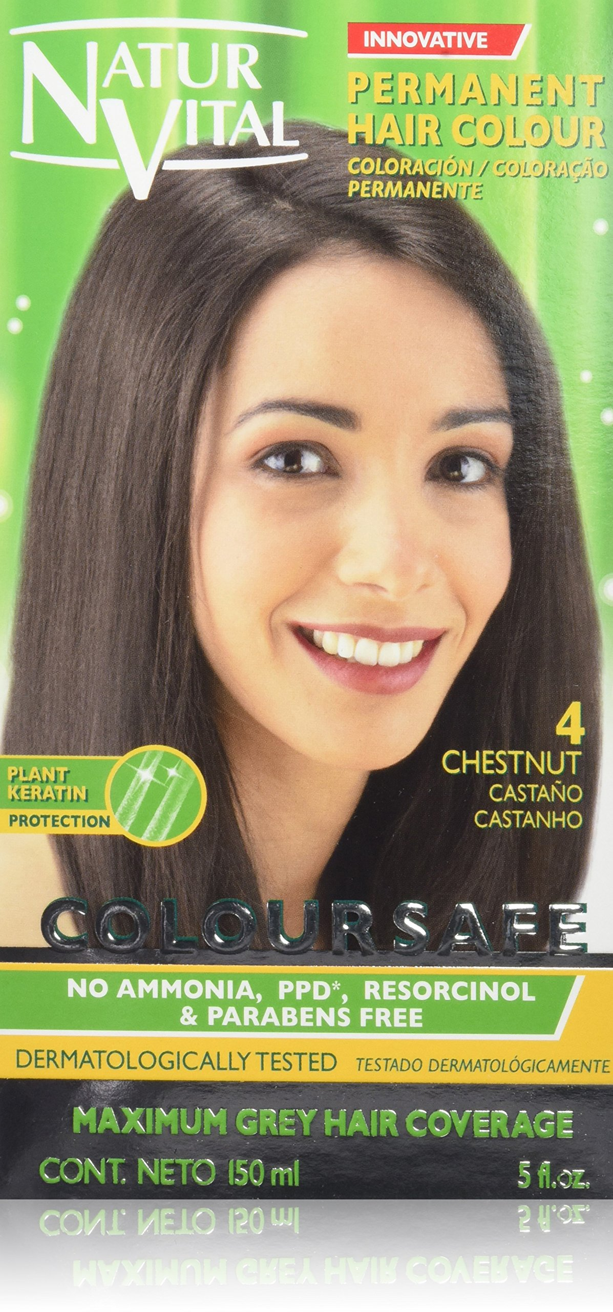 Permanent Hair Dye, Permanent Hair Color . Coloursafe, No Ammonia,Resorcinol,Parabens, or PDD. (~4 Chestnut Hair)