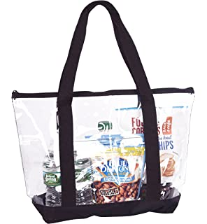 Amazon.com: Large Clear Tote Bag with Zipper Closure (Black): Shoes