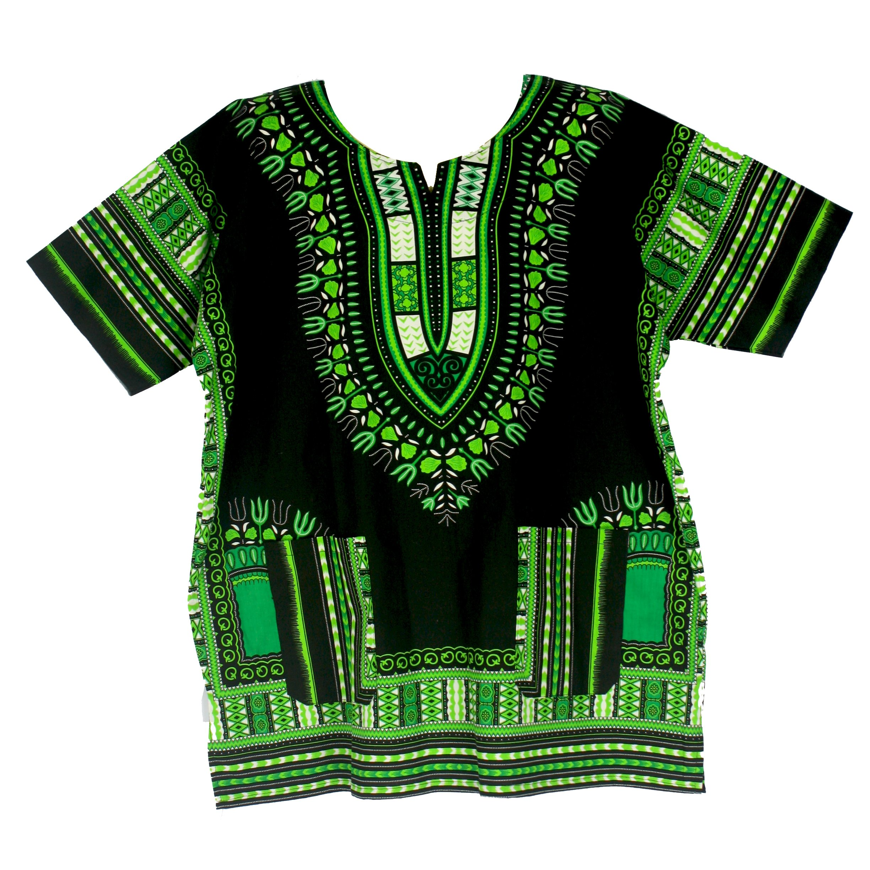 Vipada Handmade's Traditional Dashiki Shirt for men and women Black and Green 3XL