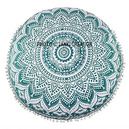 Green ombere suelo puff redondo decorativo Mandala algodón ...